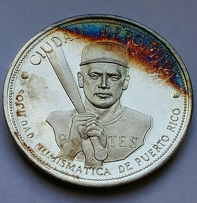 Rare 1934 - 1972 Roberto Clemente Silver Medal Puerto Rico Pittsburgh Pirates