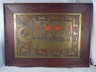 Antique Brass Etching The Fox Hunt The Chase Signed George Rutledge Oak Frame