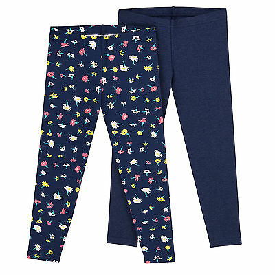 Girls Leggings 2 Pack Size 10 12 Floral Print Solid Navy Multi Stretch Pants