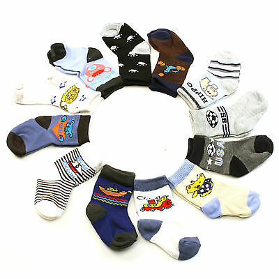 12 Pairs Cotton Fun Prints Colorful Crew Casual Socks Set Baby Boys Ages 0-1