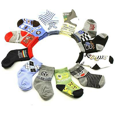 12 Pairs Cotton Fun Animal Mix Prints Crew Casual Socks Set Baby Boys Ages 1-2