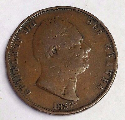 1837 Great Britain Half Penny 1/2p, King William IV, low mintage copper