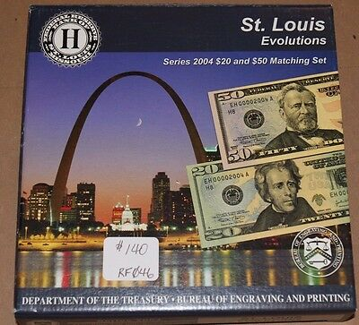 St. Louis Evolutions Series 2004 $20 & $50 Federal Reserve Matching Set JE466