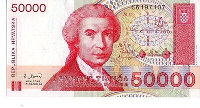 Croatia 1993 50,000 Dinara Currency