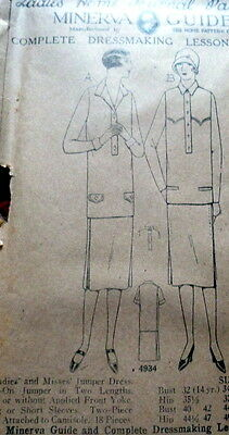 RARE VTG 1920s DRESS Sewing Pattern BUST 36 OLD DEADSTOCK