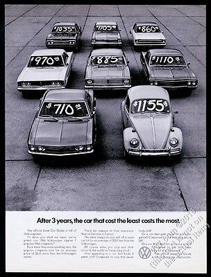 1969 VW Volkswagen Beetle classic car & other used cars photo 13x10 print ad