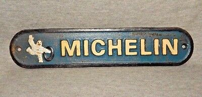 "MICHELIN SIGN Cast Iron Dealer's Plaque Wall Mount 11"" w Tire Man Rolling Tire"