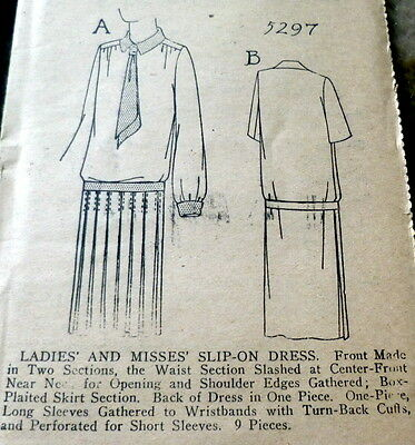 RARE VTG 1920s DRESS Sewing Pattern 16/34 OLD DEADSTOCK