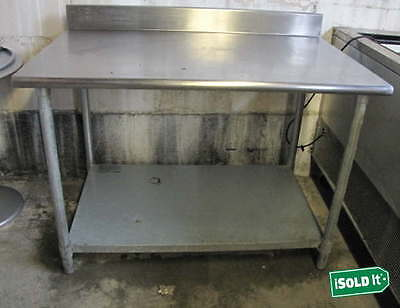 "EAGLE T3048B-BS 30x48"" STAINLESS STEEL WORK PREP TABLE w/BACKSPLASH &LOWER SHELF"