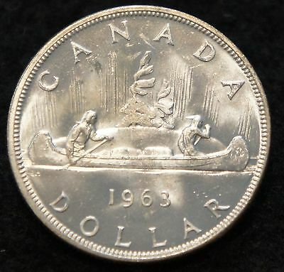 1963 Canadian Silver Dollar BU 80% SILVER  Extremely NICE old Coin!