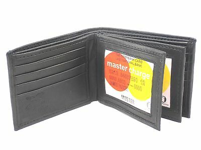 New Mens Bifold Genuine Leather Wallet Secure Multi Pocket Black Billfold Zipper