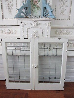 AWESOME PAIR Old Architectural LEADED GLASS WINDOWS White Wood Frames WALL DECOR