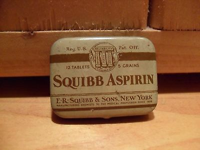 Vintage to Antique Medicine Tin Squibb Aspirin Empty