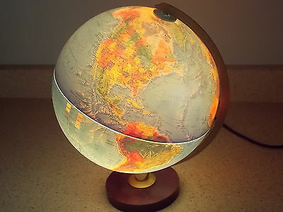 "Vintage Replogle 12"" WORLD HORIZON Series Light Up Raised Globe Wood Base Lamp"