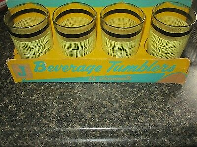 4 Vintage Jeanette Beverage Tumblers New Old Stock Orig Box,yellow & Black
