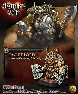 Avatars of War Warthrone Dwarves 28mm Dwarf Lord w/Two Weapons Pack MINT