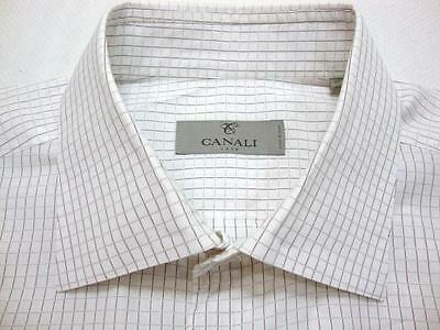 CANALI ITALY Gingham Check Woven Cotton Long Sleeve Shirt 16 1/2 - 36/37