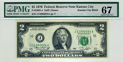 AC 1976 $2 Kansas City FRN PMG 67 EPQ Fr 1935-J Superb Gem UNC