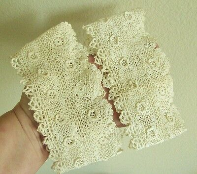 Antique Vintage Handmade Cream Irish Crochet Lace Sleeves Pantaloons Trim