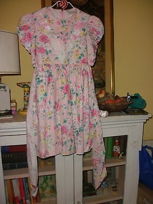 Vintage 1980s Rare Editions Pink Floral Girls Dress 7