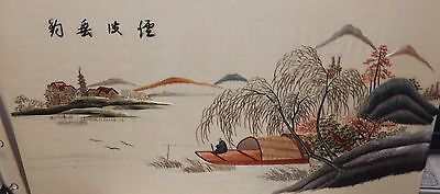Japanese Silk Embroidery Tapestry River Temple Painting Signed