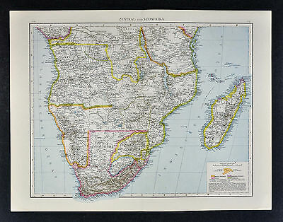1887 Andrees Map - South Africa Capeland Angola Mozambique Madagascar Cape Town