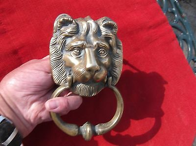 Antique Large Heavy Brass Lion Door Knocker/english Lion Door Striker/brass