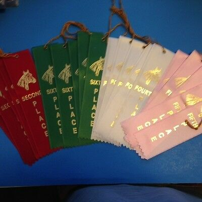 40 Horse Equestrian Award Ribbons 10 Of Each Second Fourth Fifth Sixth Place
