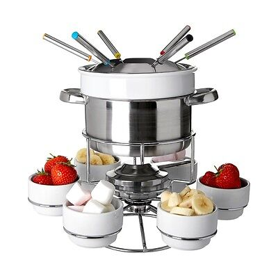 6 Person Fondue Set Stainless Steel Chocolate Cheese Dipping Melting Sauce Bowls