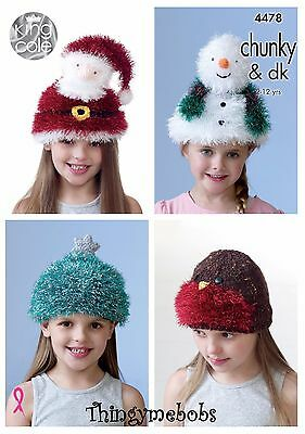 King Cole 4478 Christmas Tinsel Novelty Hats Original Knitting Pattern 2-12 Yrs