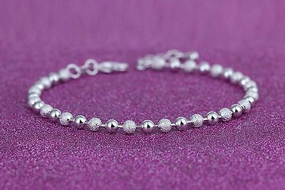 925 Sterling Silver Sparkle and Shine Round Beads Anklet Ankle Bracelet