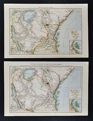 1887 Andrees 2 Maps German East Africa Tanzania - Lake Victoria British Kenya