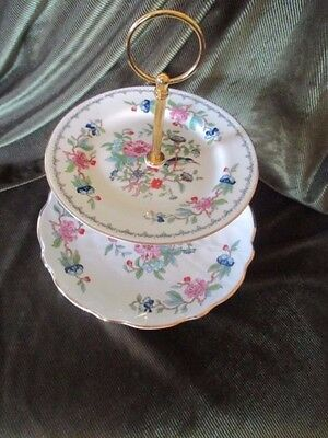 Super  Vintage   Aynsley  China Plated 2 Tier Cake Stand 'pembroke'