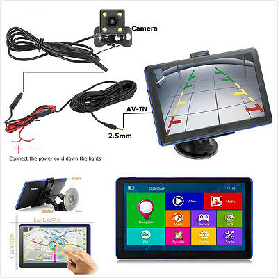 "7"" 8GB TFT LCD Car GPS Navigation Bluetooth FM MP3 MP4 & Reverse Rearview Camera"