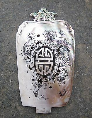 Antique China Chinese Hand Carved Carving Mother Of Pearl Shell Decoration