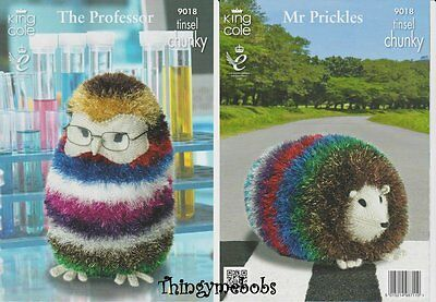 King Cole 9018 Tinsel Chunky Professor Owl/mr Pickles Original Knitting Pattern