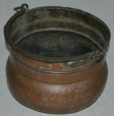 Copper Calderon with brass handle ideal fire side coal storage free postage