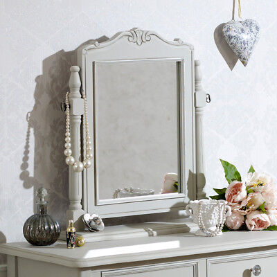 Grey wooden dressing table swing mirror shabby French chic vintage bedroom