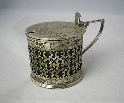 Silver Hinged Pierced Mustard Pot (?) with Blue Glass Liner Birmingham 1902