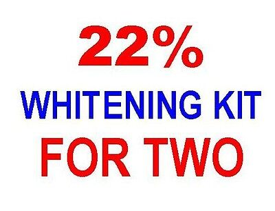 22% TEETH WHITENING BLEACH KIT for TWO PEOPLE! 8 SYRINGES, 4 TRAYS, 2 CONTAINERS