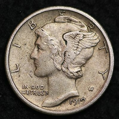1919 Mercury Dime CHOICE AU FREE SHIPPING E165 TCB
