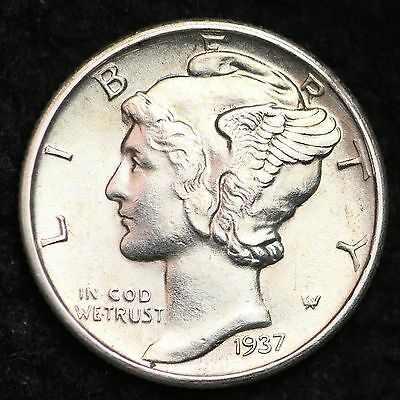 1937-D Mercury Dime CHOICE BU FREE SHIPPING E172 ACL
