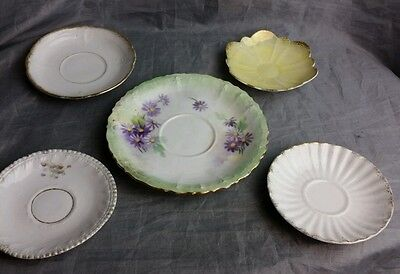 """Plate lot 5  mini saucers gold trim collectable yellow flower Vintage 4"""" & 6"""""""
