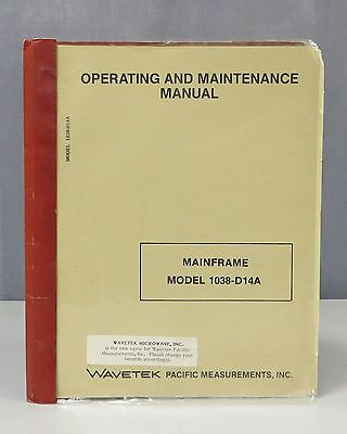 Wavetek Pacific Measurements Mainframe Model 1038-D14A Operating Manual