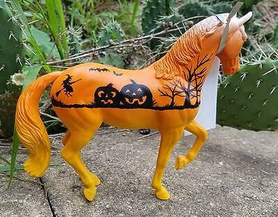 Breyer CUSTOM GLOW in the dark classic quarter Halloween Witch pumpkins horse