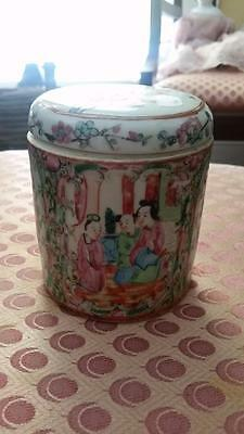 "Antique Chinese Oriental Rose Mandarin Covered Box 4 3/8"" Tall 3 7/8"""