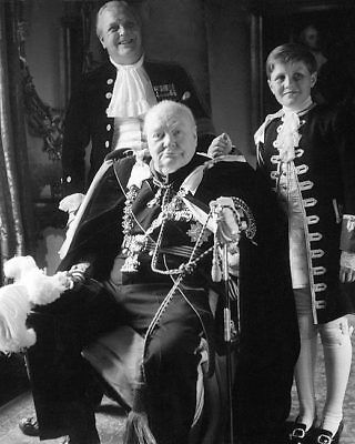 WINSTON CHURCHILL & FAMILY CORONATION ROBES 8x10 SILVER HALIDE PHOTO PRINT