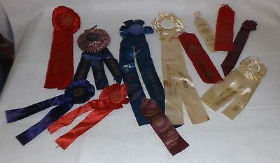 Estate Lot of 11 Vintage Horse Show Prize Ribbons 1940s Indiana Kentucky