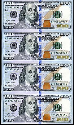 2009 Sheet of 4 $100 United States Federal Reserve UNC Currency Notes - JM028
