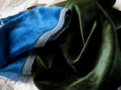 Lot Of 2 Antique Cotton Backed Silk Velvet Frags Pine Peacock Blue Doll Clothes